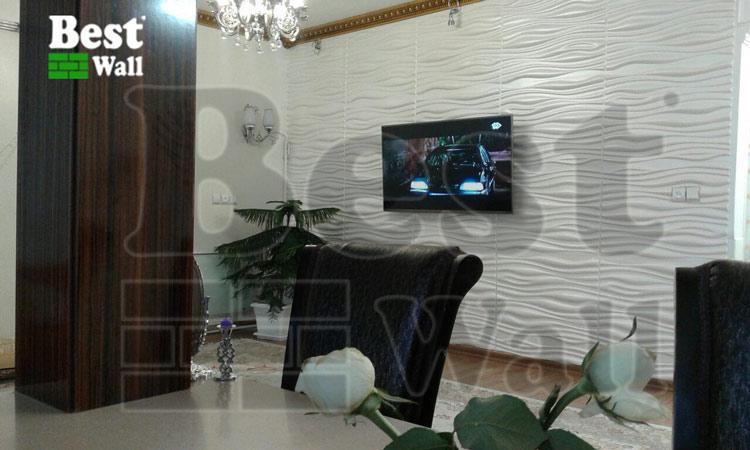 طراحی دیوار پشت تلویزیون با کاغذ دیواری مدرن