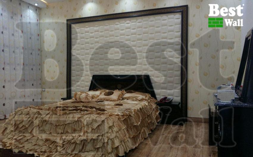 دکور دیوار و بالای تاج تخت خواب با پانل سه بعدی