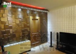 دکور اتاق نشیمن با پنل سه بعدی طرح حریر و صخره بست وال