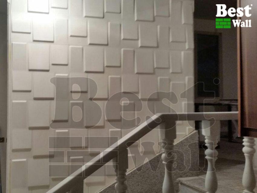 طراحی و اجرای دکور دیوار راه پله با دیوارپوش برجسته مدل صخره