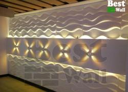 دیوارپوش سه بعدی گچی برای دکوراسیون سالن پذیرایی