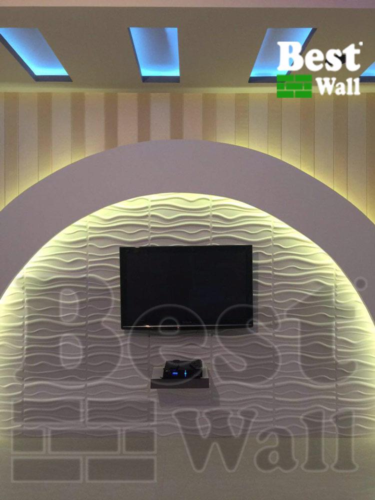 دکور جدید پشت تلویزیون با کناف و پانل دکوراتیو سه بعدی