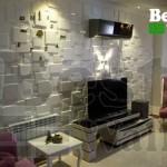 دیوارپوش مدرن مکعبی پشت تلویزیون