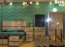 طراحی دکور دیوار بالای تخت خواب با پوستر سه بعدی طرح صخره بست وال