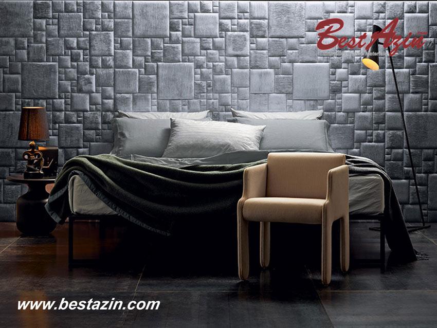 دیزاین پشت تختخواب با تایل چرمی