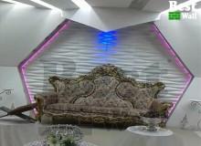 تزیین زیبای استیج تالار عروسی با استفاده از کناف و پانل سه بعدی