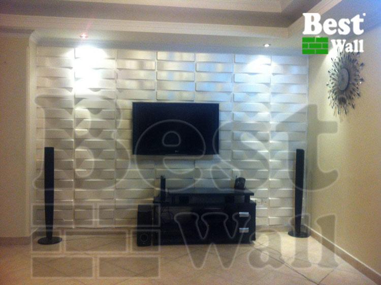 نمای دیوار تلویزیون طرح حصیر
