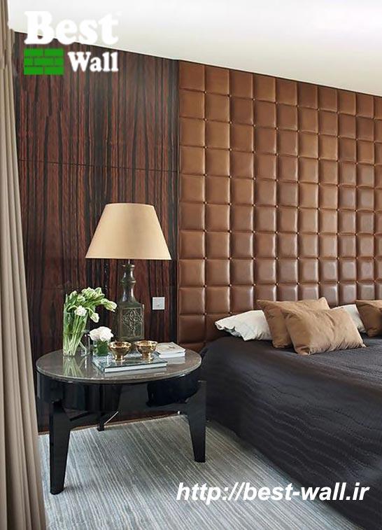 دیوار چرمی بالای تخت خواب