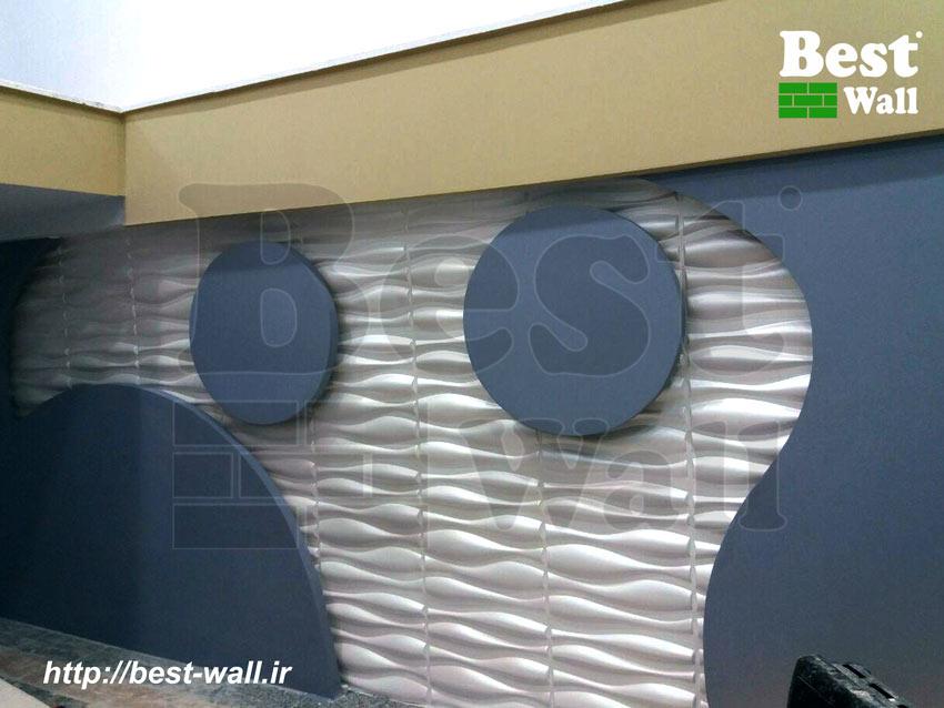 دیزاین دیوار نمایشگاه با پنل دکوراتیو و کناف