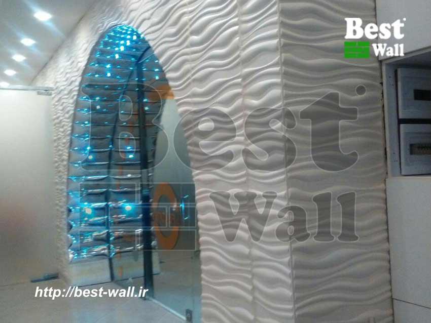 دیوارپوش سه بعدی تایل چرمی با نورپردازی