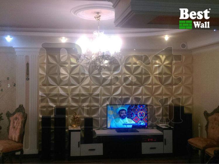 دیوار تلویزیون زیبا با پانل دکوراتیو سوپر سه بعدی بست وال