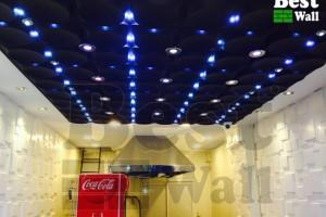 طراحی سقف کاذب دکوراتیو فست فود با نورپردازی زیبای سقف و استفاده از تری دی پنل
