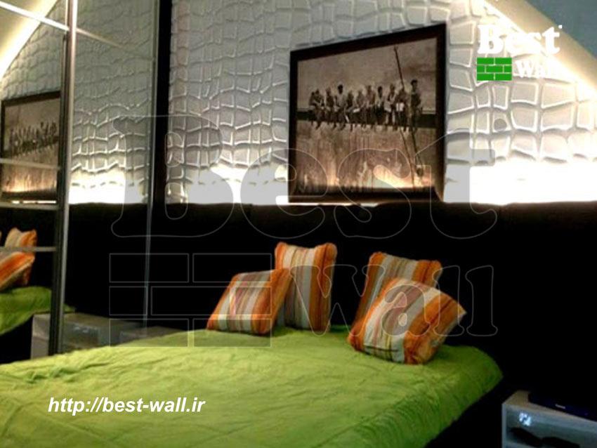 دیوار کوب سه بعدی بالای تخت خواب