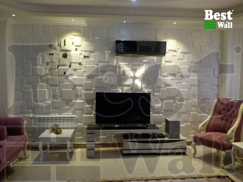 پنل دکوراتیو اتاق نشمین با دیزاین خاص مناسب تزیین پشت تلویزیون ال ای دی یا دیوارپوش سه بعدی