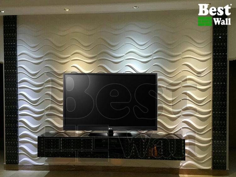 دیوار پشت تلویزیون بادیوارپوش سه بعدی طرح صبا