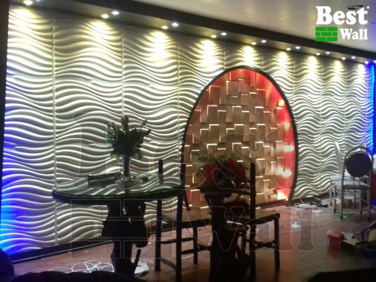 دکور و تزیین دیوار تالار پذیرایی با پانل سه بعدی طرح طوفان و صخره