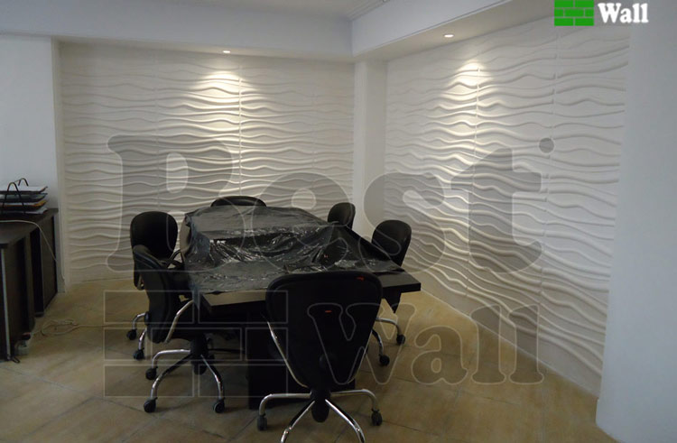 دکور دیوار شرکت با پنل دیواری طرح آرام