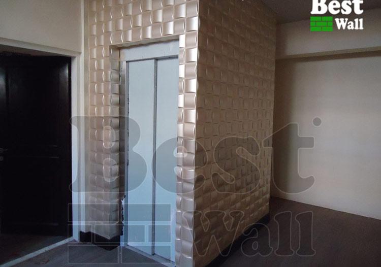دکور کابین آسانسور با دیوارپوش سه بعدی بست وال