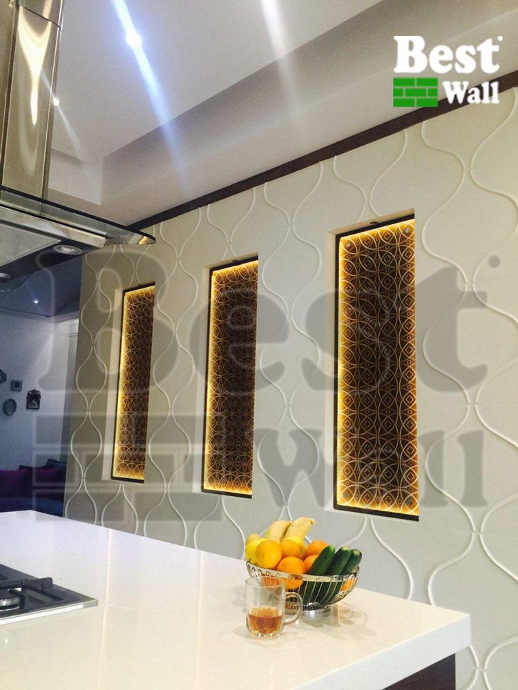 دیوار آشپزخانه با دیوار پوش سه بعدی بست وال