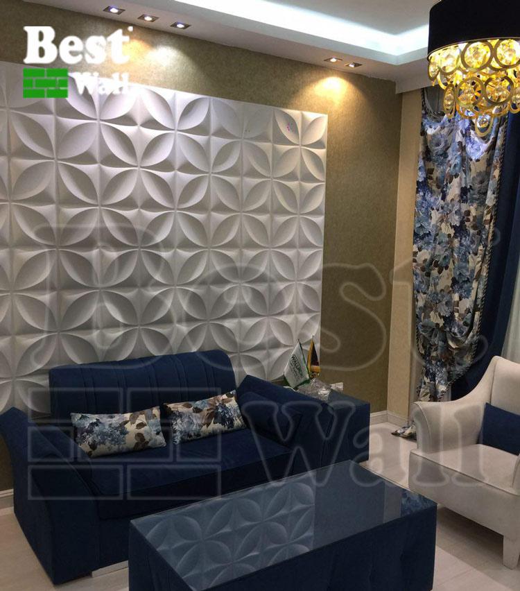 طراحی اتاق انتظار با طرح چهاربرگ دیوارپوش سه بعدی بست وال