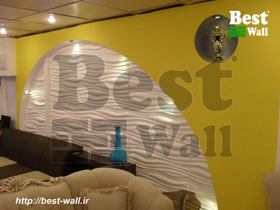 نصب دیوارپوش سه بعدی موج در نمایشگاه مبل