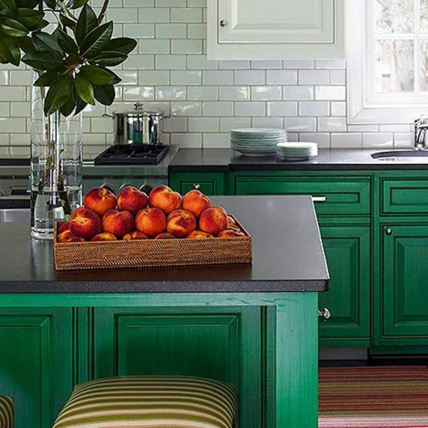 دکوراسیون سبز رنگ آشپزخانه