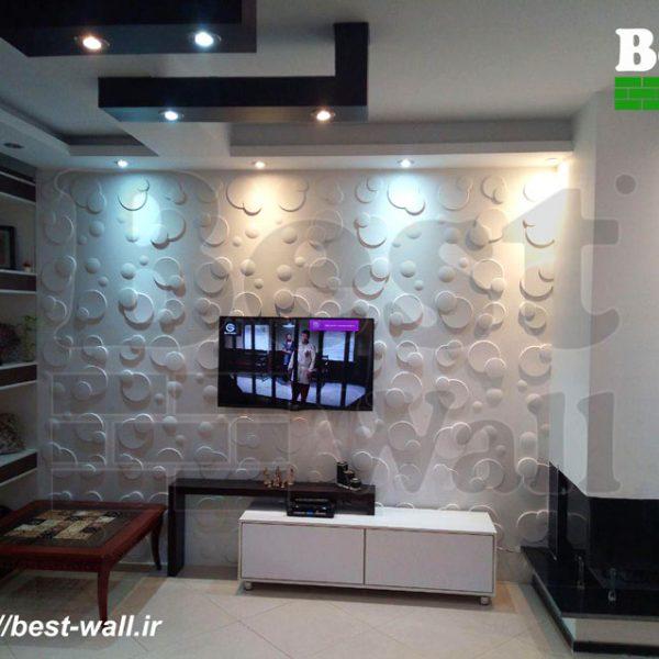 دیوار پشت تلویزیون با دیوارپوش سه بعدی
