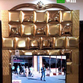 تایل چرمی طلایی جهت دیوار تلویزیون