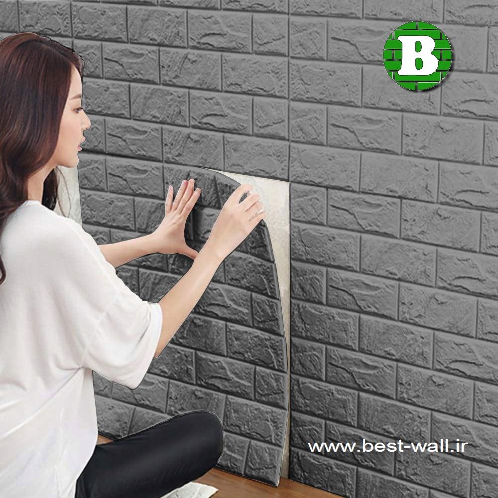 پانل فومی دیواری آجری طوسی